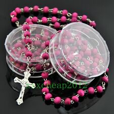 Rose scented pink wood Rosary Beads JESUS Cross Pendant Necklace XL544
