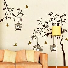 HUGE BROWN TREE BIRDCAGE ROOM WALL STICKERS VINYL HOME DECORATION HOME DECOR