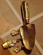 Gold Tone Garden Spade Pin w/Flower Dangles