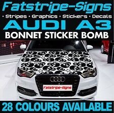 AUDI A3 GRAPHICS BONNET STICKER BOMB ROOF CAR GRAPHICS DECALS STICKERS 1.6 SKULL