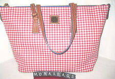 New Dooney & Bourke Sena Blue Top Zip Shopper Tote Red Gingham PVC  NWT $248