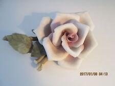 Vintage E & R Italy Pink Blush Rose on Stem Porcelain Golden Crown Figurine