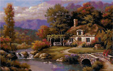 Cross Stitch Chart Pattern Cottage by the Lake Needlework Picture Design Craft