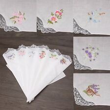 6pc Vintage Cotton Women Embroider Butterfly Flower Lace Hankies Floral Assorted