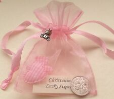 Lucky Sixpence in Organza Bag & Silver Bear Charm - Christening Gift - Baby Girl