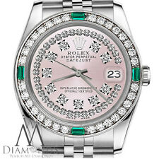 Ladies Rolex 26mm Datejust Pink String Diamond Emerald Dial Vintage Style Watch