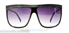 Womens FLAT TOP Sunglasses Black Chain 80s Lady Video