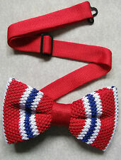 TOP QUALITY KNITTED MENS DICKIE BOW TIE RED WHITE BLUE CLUB STRIPED BOWTIE NEW