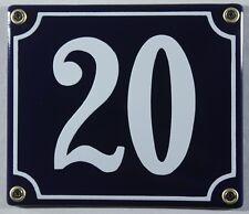 """Blaue Emaille Hausnummer """"20"""" 14x12 cm Hausnummernschild sofort lieferbar Schild"""
