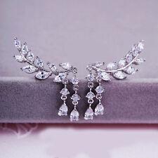 Elegant Women Gold Silver Crystal Zircon Leaves Tassel Ear Stud Earrings Jewelry