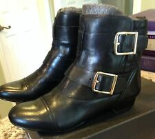 NEW HOUSE OF HARLOW BLACK LEATHER QUILTED BUCKLED JACKSON BIKER BOOT   8.5  NIB