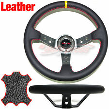 Corsica DEEP DISH LEATHER Drift Steering Wheel RED Trim BLACK 350mm TITANIUM