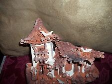 oriental houses and birds clay wall art very intricate signed by artist