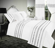 DOUBLE BED WHITE / SILVER RIBBON 200 THREAD COUNT HOTEL QUALITY DUVET COVER SET