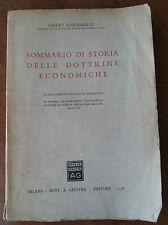 SOMMARIO DI STORIA DELLE DOTTRINE ECONOMICHE DI GIULIO CAPODOGLIO-GIUFFRE' 1958