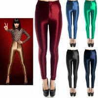 American Style Apparel Shiny Disco Pants High Waisted Trousers Legging Size 6-16