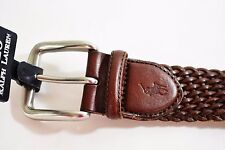 $95! New Polo Ralph Lauren Men's Brown Braided Leather Casual Belt Big & Tall 52