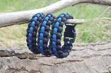 550 Paracord Survival Bracelet Cobra Thin Blue Line Police Law Enforcement