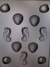 NEW 3D SHELL ASSORTMENT MOLD chocolate candy nautical seahorse shells