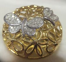 New 14k Yellow Gold Sterling Silver Diamond Flower Butterfly Pave Artisan Ring 7