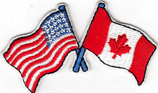 UNITED STATES & CANADA FLAGS- IRON ON EMBROIDERED PATCH - PATRIOTIC - FLAG