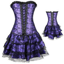 Womens Punk Lace up Boned Overbust Bustier Corset Top Gothic Waist Plus Size US