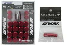 WORK Lug Lock nuts set for 5H 12x1.25 and 4pcs Air Valve caps Red Value set