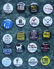20 x stag do nuit bouton Badges 1 pouce Bride Groom Best Man costume de partie de poule