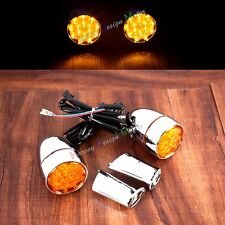 New LED Oranged Turn Signals Lights&Brackets For Harley Sportster XL 883 1200