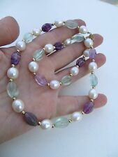 Old Vintage Carved Amethyst/Aquamarine/Perls Necklace 14kGold beads/clasp