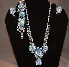 BRILLIANT Juliana D&E Sky Blue Iridescent Rivoli Necklace/Bracelet/Earring Set!