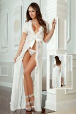 Sexy Lingerie Set Long Robe Pearl White Bridal Bride 2pc Sexy Glam Night Panty