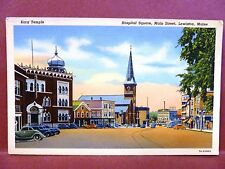 Postcard ME Lewiston Hospital Square Main Street
