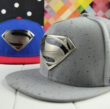 Grey Superman Snapback Adjustable Baseball Cap Flat Hat Hiphop Street Cosplay