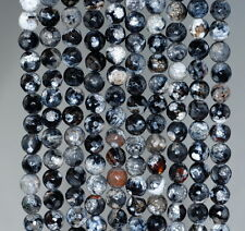 """6MM  AGATE GEMSTONE ICE BLACK FACETED ROUND LOOSE BEADS 14.5"""""""