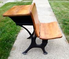 Antique School Desk,wood top & fold up Seat w/ Cast Iron legs Circa 1900's
