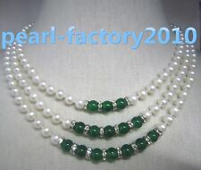 Triple strands AAAA 6-5 mm green jade+South Sea white Pearl Necklace 14k Gold