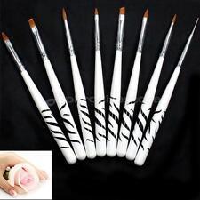 Set 8 Pennelli Penne Fini per Nail Art Ricostruzione Unghie Acrilico Smalto Prof