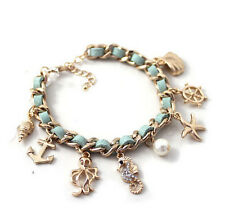 1 Piece Marine Style Anchor Hippocampus Starfish Octopus Pearl Cuff Bracelet