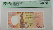 1985 Central African Republic 500 Fr Note SCWPM# 14a PCGS 67 PPQ Superb Gem New