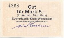Klein-Wanzleben Zuckerfabrik vorm. Rabbethge u. Giesecke 5 Mark 1918 kassenfr.