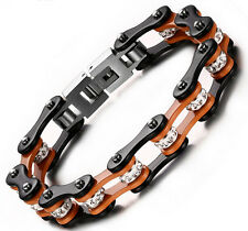 Ladies New Orange Black Motorcycle Bike Chain Stainless Steel Drill bracelet