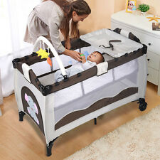 New Coffee Baby Crib Playpen Playard Pack Travel Infant Bassinet Bed Foldab