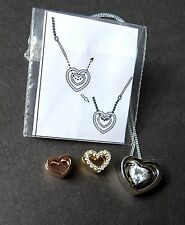 Sterling Silver and Rose Gold Interchangeable Heart Pendant*18 inch*Brand New