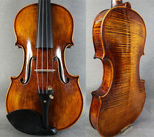 Strad Model Flame Maple - Hand Made&Varnished 4/4 Violin / Free Case +Bow