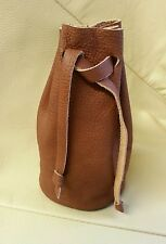 Real  Leather Tan draw string pellet pouch. Purse. Bag.Bushcraft with belt loop