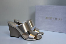 New sz 8 / 38 Jimmy Choo Marsa Gold Leather Open Toe Heel Sandal Shoes