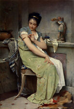 Oil paintig Pinchart Emile Auguste The Toilette young girl sitting - on canvas
