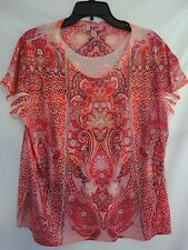 New Dress Barn $40 Sublimation Beaded Medallion Print Knit Top Orange Size XL