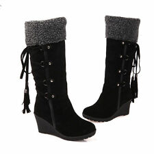 Winter Women's Faux Suede Knee High Boots Platform Wedge heel Lace Up Shoes Size